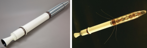 On the right is an image of the satellite, Explorer 1, a metal white and silver sphere shaped object. On the left is the same object illuminated in a gold hue.