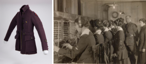 On the right is a purple female telephone operator uniform jacket. The jacket has a patch on one sleeve and an Army ribbon pinned to the front. On the left is a black and white historical photograph of women working a telephone switchboard while a man in uniform and another woman observe.