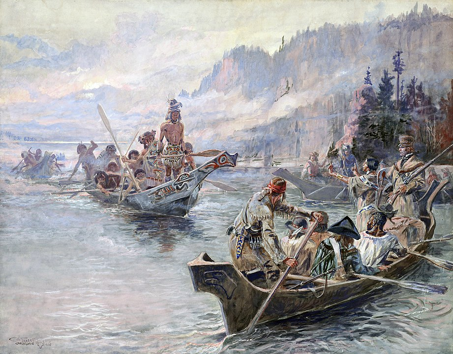 Painting of the Lewis and Clark Expedition in canoes on a river