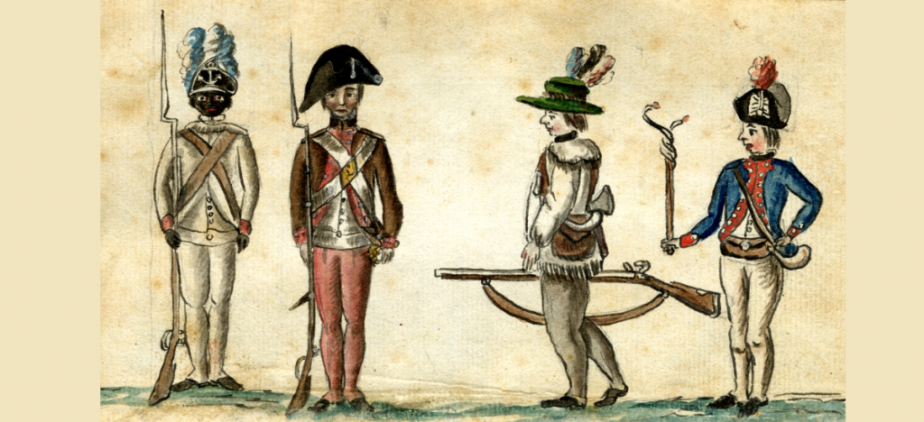Drawing of Revolutionary War Era Soldiers in different uniforms