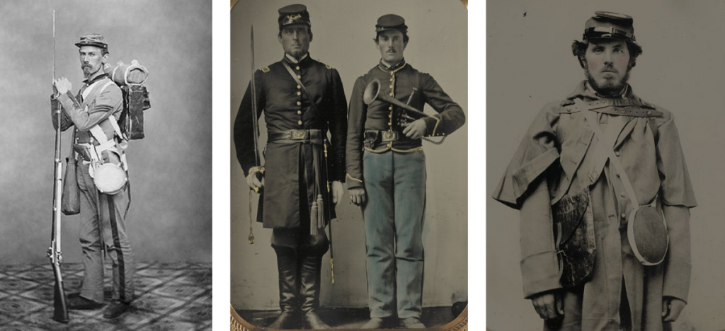 Photo on left shows a Union Soldier in full gear with a firearm. Photo in the center shows 2 Soldiers: one with a sword, the other with a saxhorn. Photo on right shows a Union Soldier with canteen and rain gear.