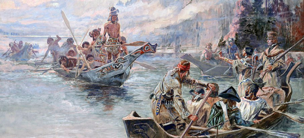 Painting of Lewis and Clark expedition in canoes on a river