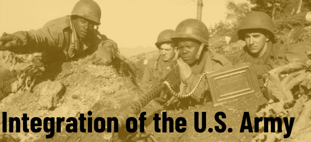 4 Soldiers, 2 white and 2 black, set up a machine gun. Click image to learn about Integration of the U.S. Army.
