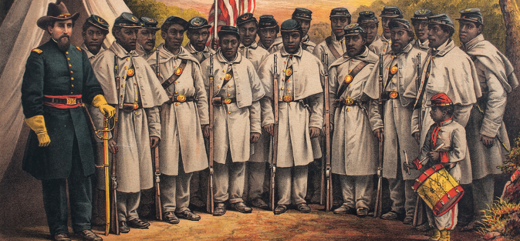 Painting of a white Union officer with a unit of Black Union Soldiers and a drummer boy.
