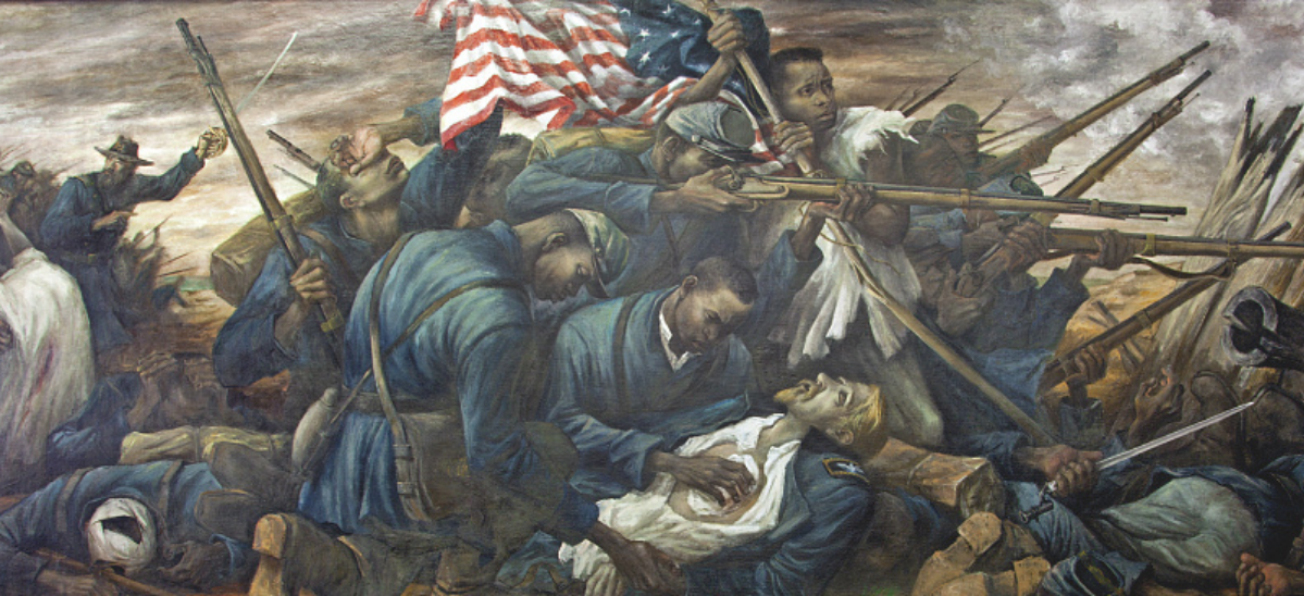 Painting of Black Civil War Soldiers in the midst of battle helping a wounded white officer