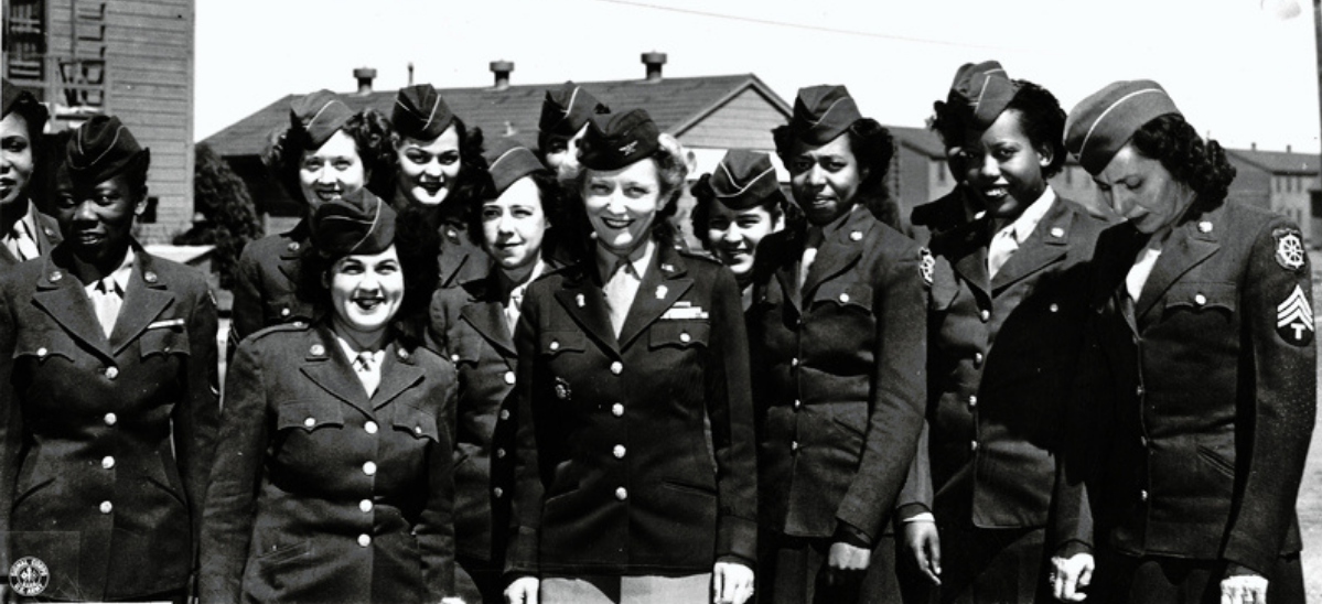 Group of Black and white female Soldiers in dress uniforms