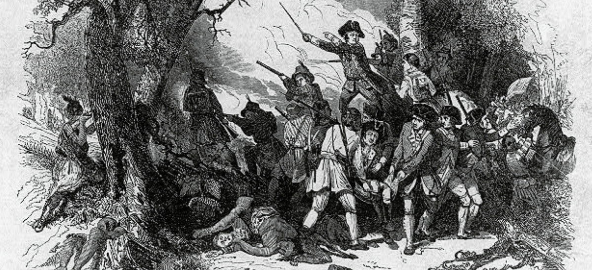 drawing of colonial era soldiers fighting in a wooded area