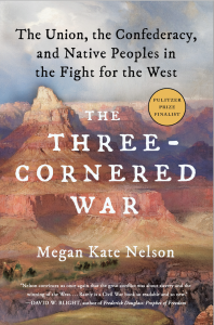 Book cover of The Three-Cornered War featuring a paining of a canyon